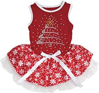 Petitebella Rhinestone Christmas Tree Red Shirt Snowflake Tutu Puppy Dog Dress (Medium)