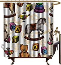 Polyester Shower Curtain,Vintage Decor Retro Style Toys Rocking Horse Teddy Bear and Bird Illustration Print,Bathroom Decoration,W72x72L,Brown and Grey