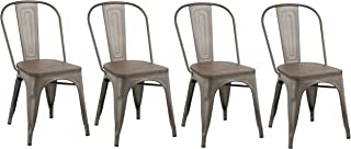 BTEXPERT 5031mcc-4 Industrial Kitchen wood top Classic Trattoria Chair Stackable Distressed Metal Chic Bistro Cafe Side Set of 4, 18 inch
