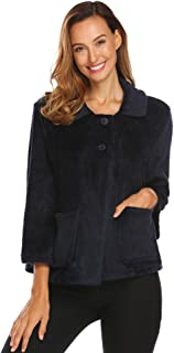 Ekouaer Women's Peter Pan-Collar Bed Jacket 3/4 Sleeve Button Up Soft Flannel Sleepwear