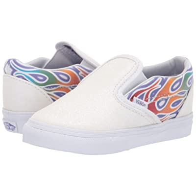 Vans Kids Classic Slip-On (Infant/Toddler) ((Sparkle Flame) Rainbow/True White) Girls Shoes