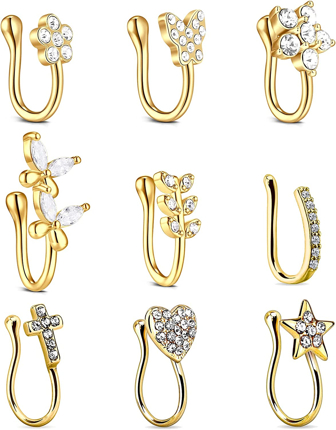 Incaton 9Pcs Fake Nose Rings Hoop Gold Nose Cuff Non Piercing for Women Heart Star Leaf Butterfly CZ Clip On Faux Nose Rings
