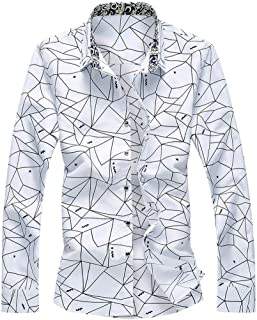 YSY-CY Shirts Long Sleeve Men Shirt Modern Geometric Print Tops Fashion Loose Casual Blouse Formal Shirt Gentleman Blusa Masculina Suitable for outdoor travel/daily wear at work