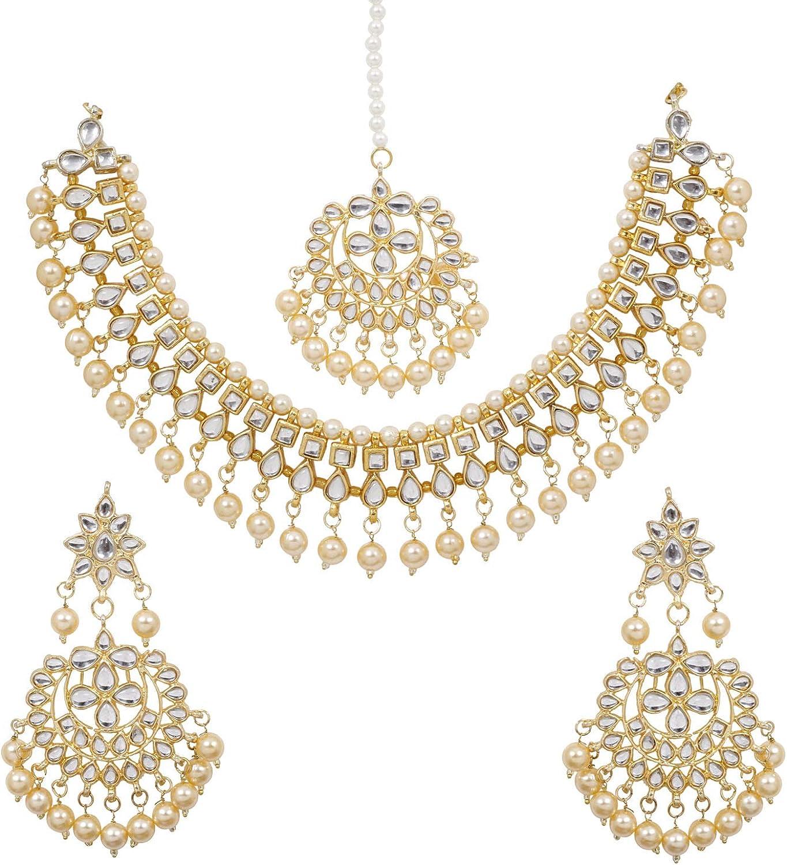 SANARA Indian Bollywood Golden Wedding Wear Faux Kundan Pearl Choker Necklace Set Ethnic Fashion Jewelry for Women