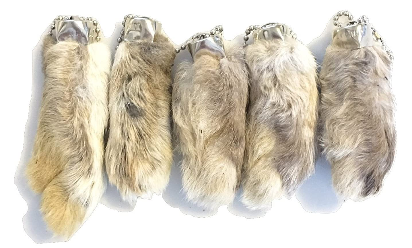 Dangerous Threads Rabbit Rabbits Foot Keychain White/Natural 5 Pcs