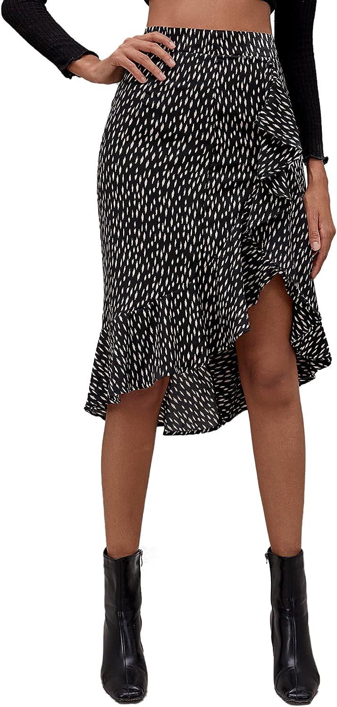 Floerns Women's All Over Print Ruffle Trim Asymmetrical Hem Wrap Midi Skirt