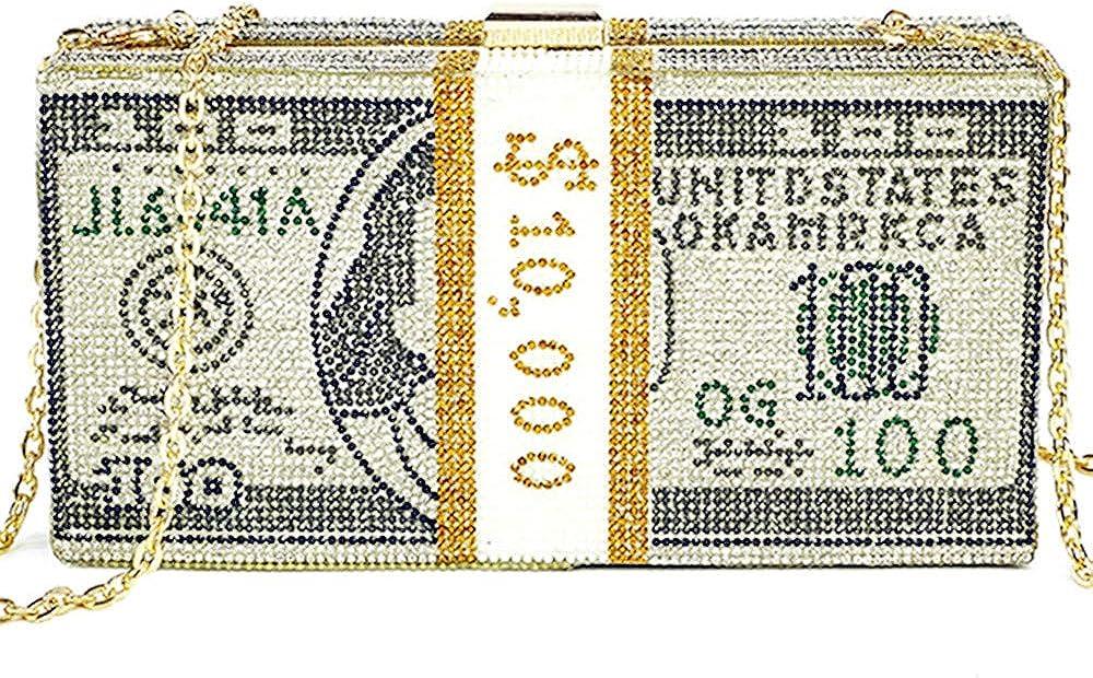 Luxury Fashion Women crystal Money Evening bag Clutch Bags Dollar Design Diamond Party Purse Handbags