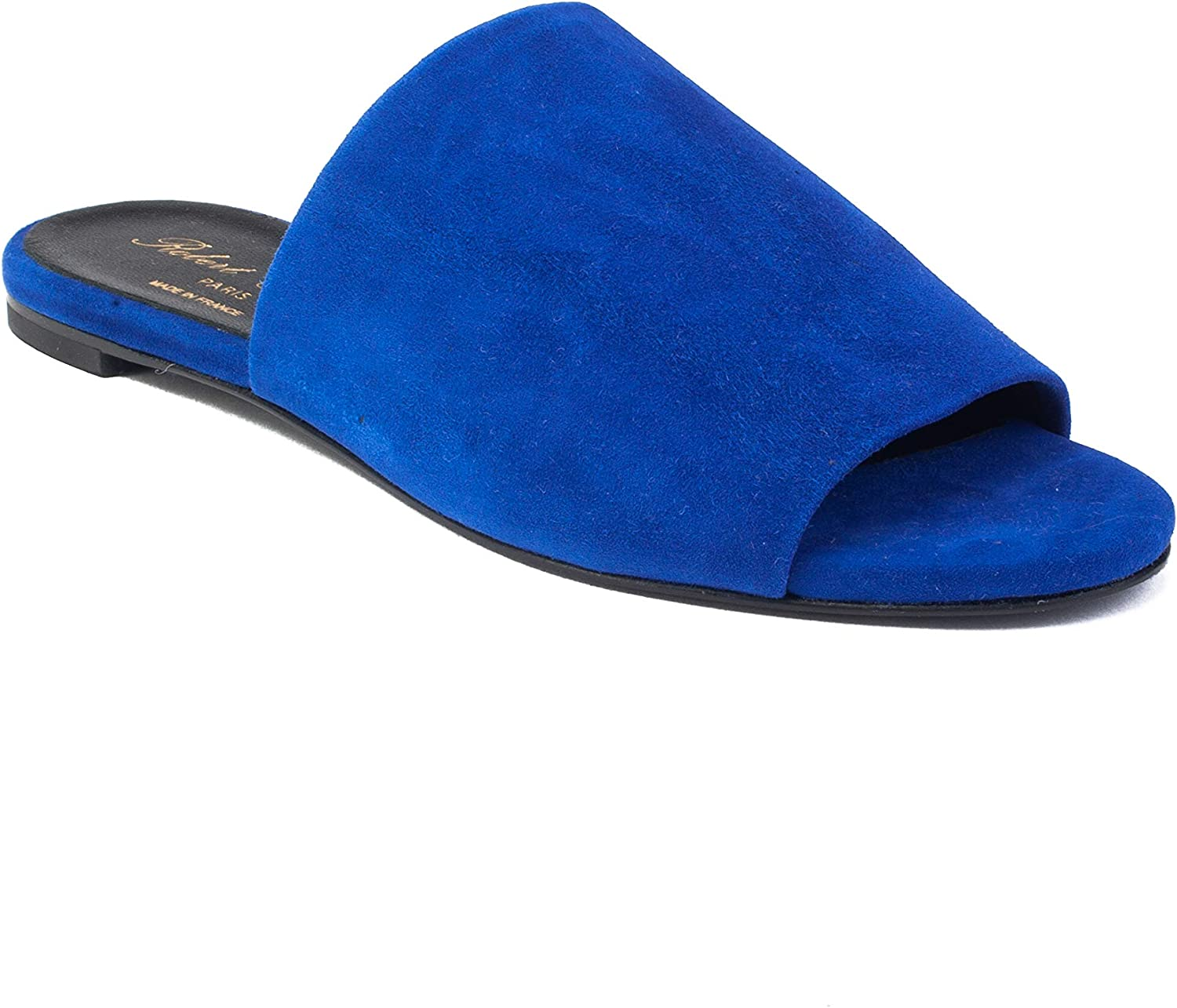 Robert Clergerie Women's Suede Gigy Slide Sandal shoes bluee