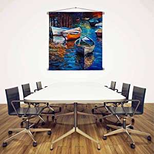 Artzfolio Artwork of Boats & Jetty D9 Satin Painting Tapestry Scroll Art Hanging 12 X 12Inch