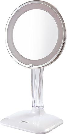 Interruptor de Sensor T/áctil Sfesnid Espejo de Maquillaje con Luz Aumento 1x // 2X // 3X Energ/ía Dual Port/átil Espejo Iluminado de Cosm/ético Espejo de Vanidad con Luces 21 LED