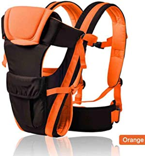 Baby Sling 0 30 Months Breathable Front Facing Baby Carrier 4 in 1 Infant Comfortable Backpack Pouch Wrap Baby Kangaroo Kid Belt,Orange and Black