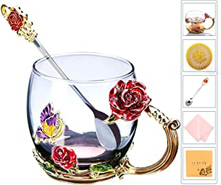 Flower Tea Cups, Unique Coffee Mugs, Butterfly Glass Mug with Spoon Set, Handmade Rose Butterflies Gifts - Best Gifts for Newlyweds Parents Couples Mother Girlfriend (12oz, Red)