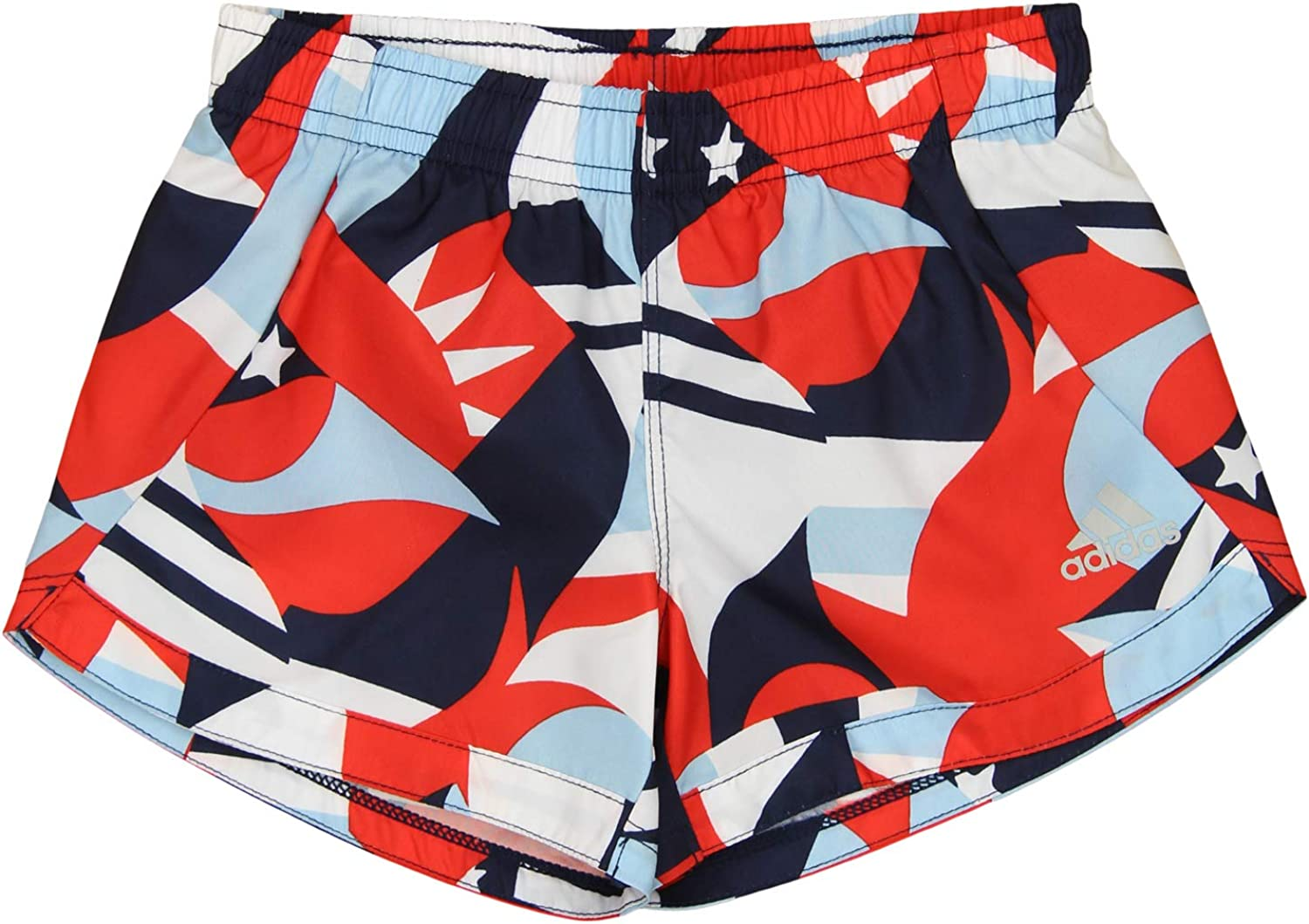 adidas Little Girls All-Over Flag Printed Training Shorts, Red/White/Blue