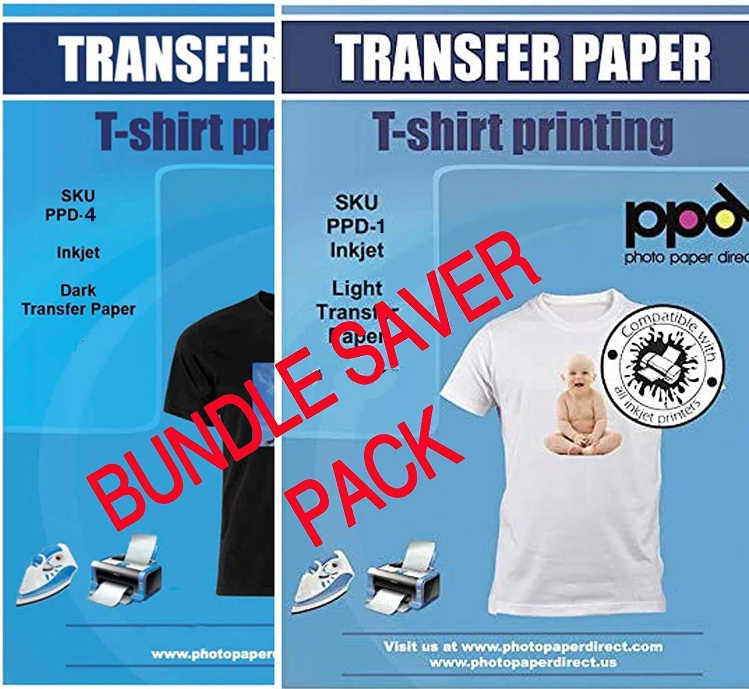 PPD Inkjet Iron-On Bundle of T Shirt Transfer Paper 8.5x11