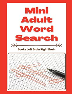 Mini Adult Word Search Books Left Brain Right Brain: Following Directions Workbook Preschool, First Word Search Reading Ma...