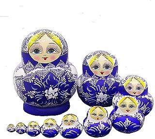 LK King&Light 10pcs beautiful Blue_White Russian Nesting Dolls Matryoshka Wooden Toys
