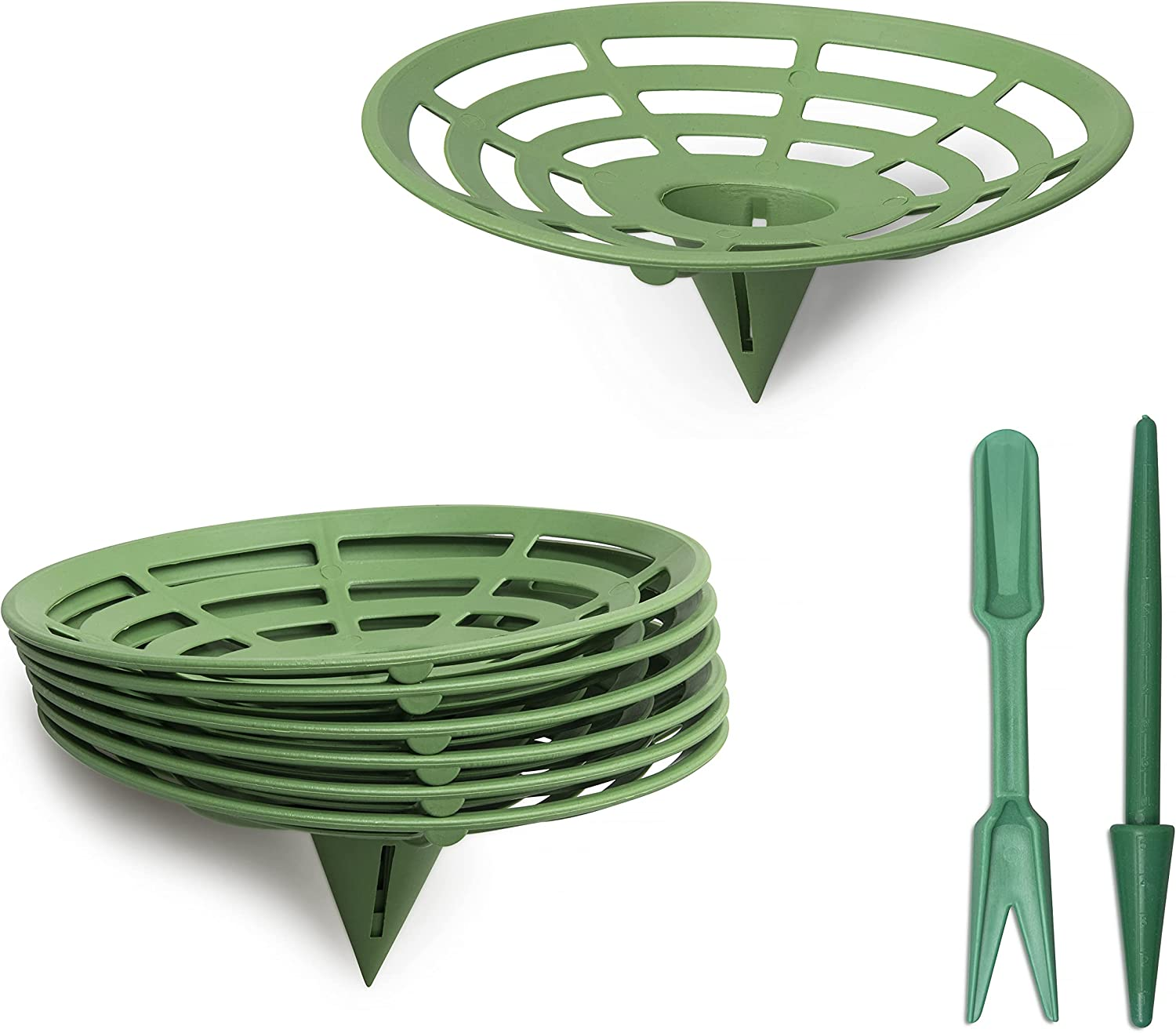 Gebrent Melon Cradles - 6 Pack of Heavy Duty Plastic Fruit and Veg Support Stands for Squash, Cantaloupe, Pumpkins - Complete with Widger and Dibber Gardening Tools
