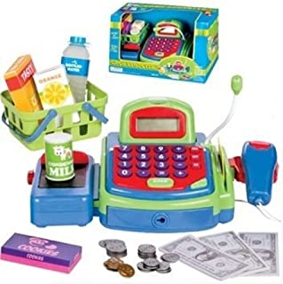 YMCtoys Pretend Play Electronic Cash Register Toy Realistic Actions & Sounds Green/Blue/Red