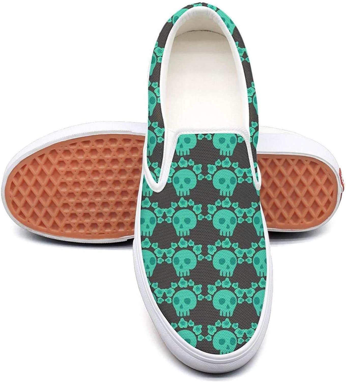 Green pink Skull Head Slip On Superior Comfort Loafers Canvas shoes for Women Comfortable