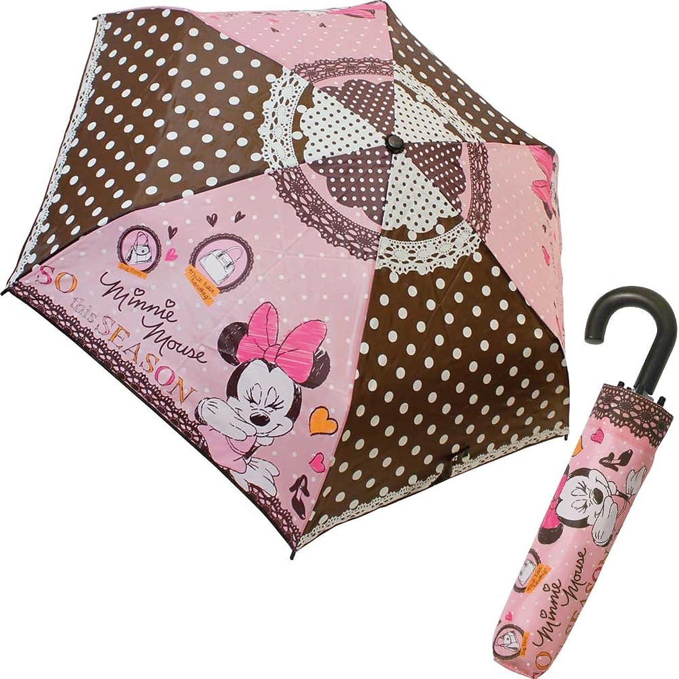 農村満足させる指折りたたみ傘 ミニーマウス ミニーファッション キャラクター 生地 53cm 90203