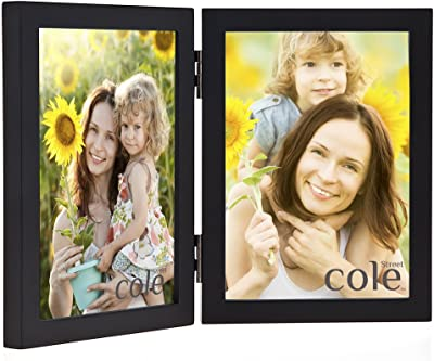 Philip Whitney 4x6 Black Wooden Hinged Double Vertical Standing Picture Photo Frame