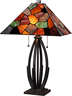 Tiffany Mission Style Banker Table Lamp Stained Glass Contemporary Decorative Lighting Accent Desk Bedroom Living Room Bedside Library Orange Brown Green Amber 23 x 15 inch