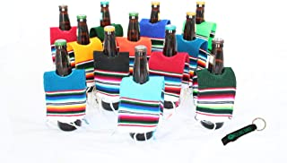 Mexican Beer Bottle Serape Ponchos 12 Pack and Bottle Opener