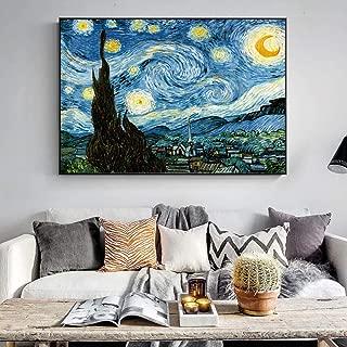 ZYWGG Lienzo Impresión Image Cuadro Van Gogh Noche Estrellada Pinturas De Pared Famosas Paisaje Impresionista Arte De La Pared Decoración De La Lona Cuadros