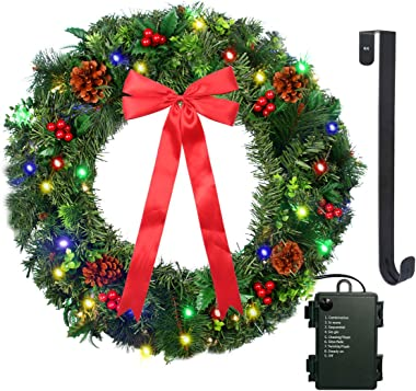 """24"""" Christmas Wreath with LED String Lights - Prelit Xmas Door Wreath - Including Wreath Hanger, Red Berries, Battery Operate"""