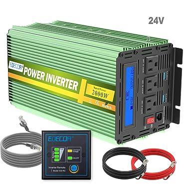 Edeoca 2000W 24V Power Inverter DC 24V to 110V AC Power Converter LCD and Remote Controller 4.2A Dual USB Ports