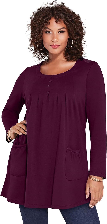 Roaman's Women's Plus Size Long-Sleeve Two-Pocket Tuni Knit Bargain Soft online shopping