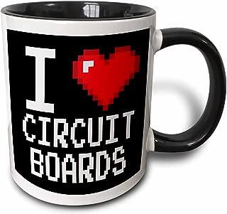 3dRose 118869_4 Geeky Old School Pixels 8-Bit I Heart I Love Circuit Boards Two Tone Black Mug 11 oz White