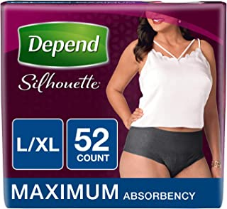 Depend Silhouette Incontinence Underwear for Women, Maximum Absorbency, L/XL, Black, 52 Count