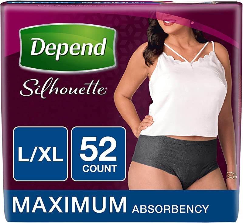 Depend Silhouette Incontinence Underwear For Women Maximum Absorbency L XL Black 52 Count