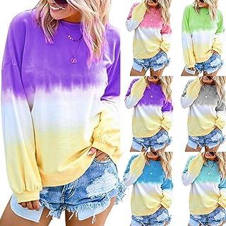 Women New Pullover Rainbow Gradual Printed Long Sleeve Sweatshirt for Autumn Winter