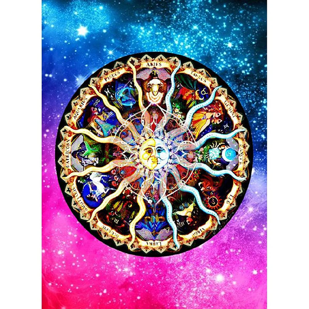 DIY Handwork Store 5D Full Drill Round Diamond Painting Kits by Numbers Crystal Rhinestone Embroidery Art Crafts Gift Cross Stitch Mosaic Colored Mandela Picture Home Wall Decor(13.78''x 17.72'')