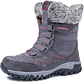 Womens Snow Boots Winter Fur Lined Warm Ankle Boots Lace up Anti-Slip Shoes for Outdoor Walking Hiking Trekking