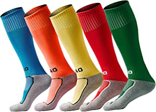 Kids Soccer Socks Youth Football Sock Boys/Girls Knee High Cotton Towel Bottom (2 sizes / 3-14 Years)