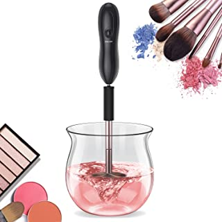 Makeup Brush Cleaner, Premium Makeup Brush Cleaning Tool for Deep Washing Brushes, Super-Fast Cleaning and Drying in Seconds, Electric Brush Cleaner and Dryer with 8 Size Collars, Brush Cleaner Mat