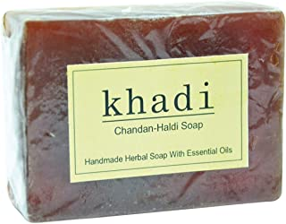 Vagad`s Khadi Handmade Herbal Chandan-Haldi Soap Bar With Essential Oils - 125 GR (4.40oz)