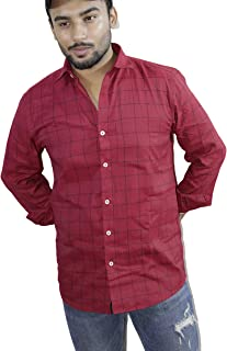 Spanish One Look Mens Long Sleeve 100% Cotton Regular Fit Button Down Casual Shirts Dress in Red Printed Check Shirt for Men