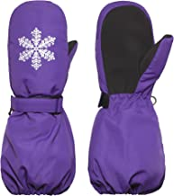 Flammi Kids Ski Mittens Winter Warm Fleece Lined Snow Mittens with Long Cuff Water Resistant for Girls 3-5 Years
