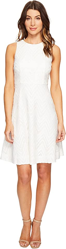 Sleeveless Chevron Lace Fit and Flare with Full Skirt
