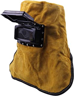 ATOPLEE 1pc Welding Mask Cowhide Leather Comfortable Welding Leather Hood Helmet Face Mask