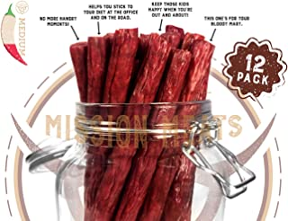 TASTY & SPICY Non-GMO Grass-Fed Beef Sticks Gluten Free MSG Free Nitrate Nitrite Free Paleo Snacks Keto Healthy Natural Meat Sticks 12 piece