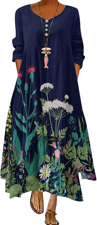 Eduavar Casual Dresses for Women, Womens Fashion Floral Print Long Sleeve Hollow Neck Short Flowy Dress Loose Sundresses