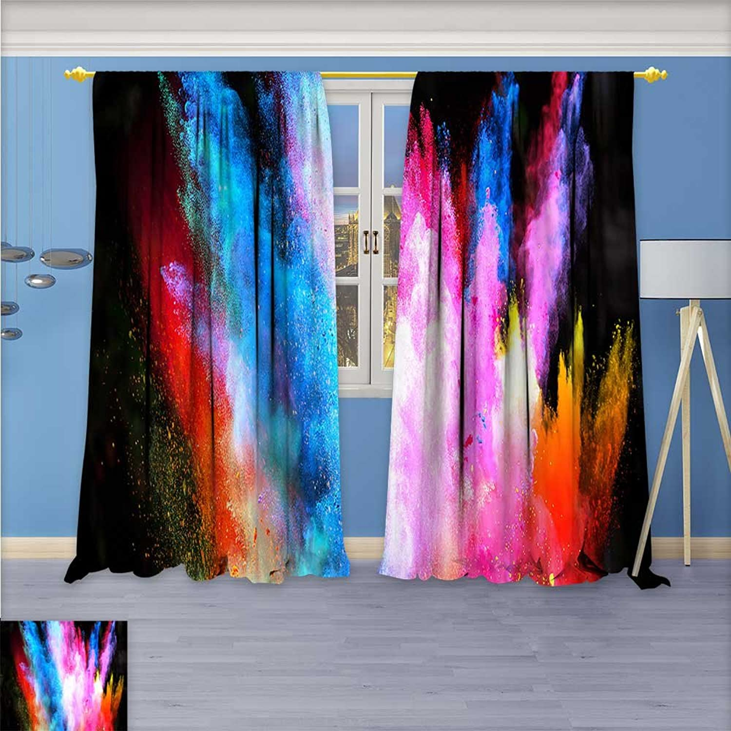 Aolankaili Printed Pair (2 Panels) Room Darkening Thermal Insulated colorful Life Top Pattern Curtains 120W x 72L inch