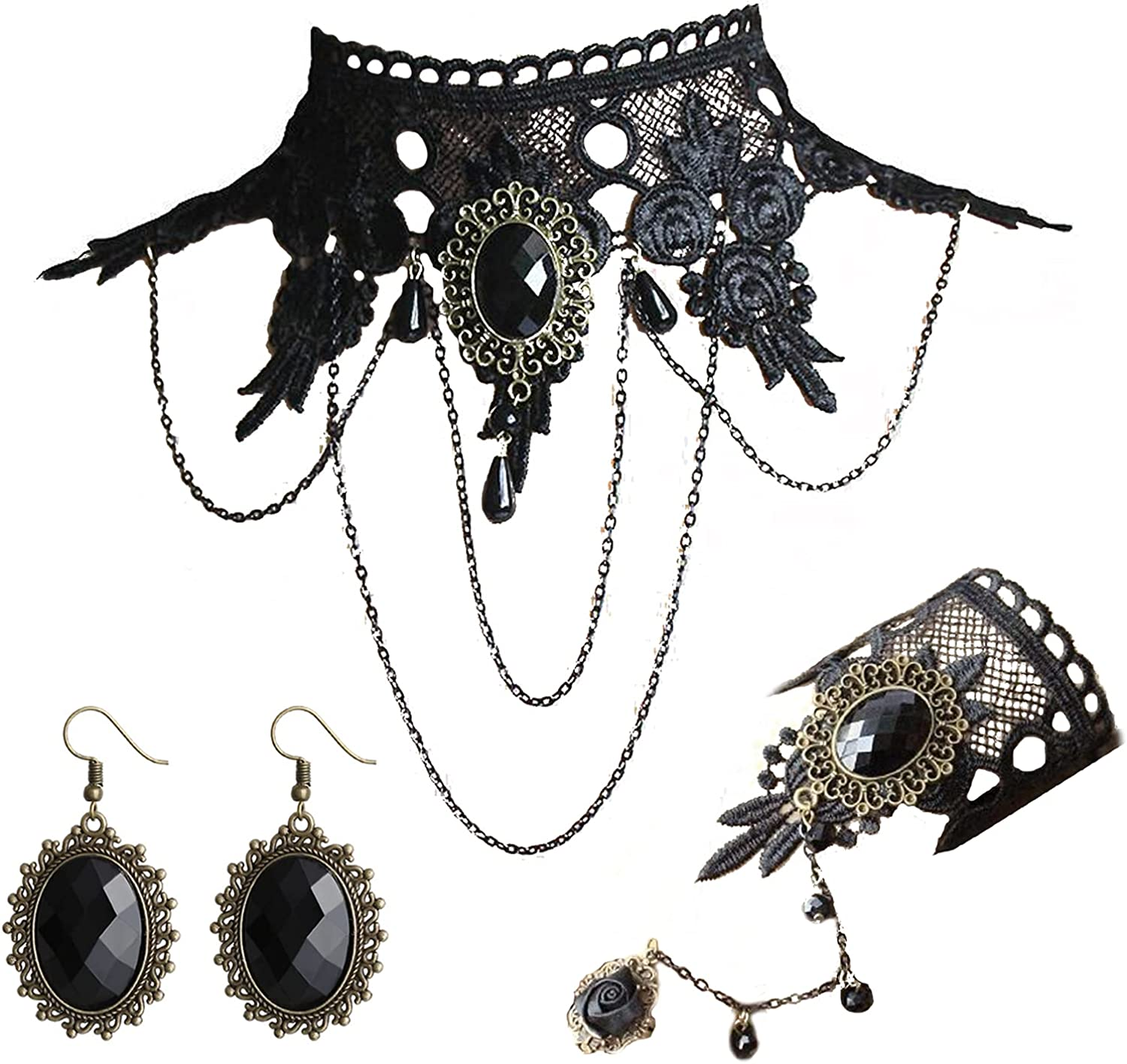 Black Lace Jewelry Set, Choker Necklace Bracelet Earrings, Halloween Gothic Costume Jewelry Set, Vintage Lacery Crystal Pendant, Cameo Crystal Dangle Earrings, Rose Voile Lace Bracelet with Ring