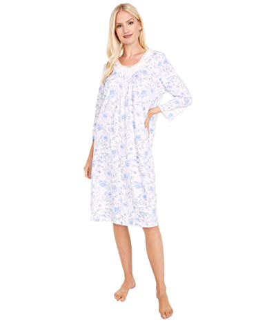 Carole Hochman Soft Jersey 3/4 Sleeve Waltz Gown (White/Blue Floral) Women