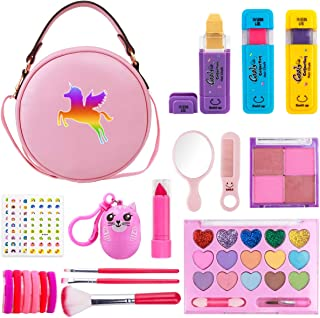 Girls Makeup Kit - Real Makeup Palette Set with Purse, Hair Chalks, Lipstick/Blush/Brush - My...